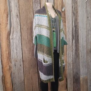 ECHO MIXED KNIT PATTERNS LONG CARDIGAN!